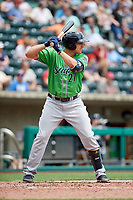 Gwinnett Stripers third baseman Austin Riley (27) at bat during a game against the Columbus Clippers on May 17, 2018 at Huntington Park in Columbus, Ohio.  Gwinnett defeated Columbus 6-0.  (Mike Janes/Four Seam Images)