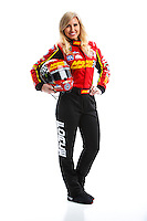 Feb 8, 2017; Pomona, CA, USA; NHRA funny car driver Courtney Force poses for a portrait during media day at Auto Club Raceway at Pomona. Mandatory Credit: Mark J. Rebilas-USA TODAY Sports