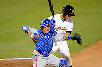 St. Lucie Mets catcher Cam Maron #7 throws down to second on a stolen base attempt in front of catcher Jacob Stallings during a game against the Bradenton Marauders on April 12, 2013 at McKechnie Field in Bradenton, Florida.  St. Lucie defeated Bradenton 6-5 in 12 innings.  (Mike Janes/Four Seam Images)