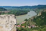 Austria, Lower Austria, UNESCO World Heritage Wachau, view from ruin Duernstein upriver, wine village Rossatz on the opposite side