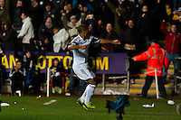 Saturday 8th February 2014<br /> Pictured: Wayne Routledge Celebrates his goal<br /> Re: Barclays Premier League Swansea City FC  v Cardiff City FC at the Liberty Stadium, Swansea