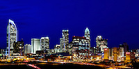 Charlotte NC skyline poster or panoramic print. Best printed in the proportions of 12x24 (additional sizes and images available).