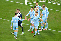 6th June 2021; AAMI Park, Melbourne, Victoria, Australia; A League Football, Melbourne Victory versus Melbourne City; City players celebrate scoring the opening goal of the game
