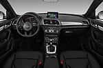 Stock photo of straight dashboard view of a 2018 Audi Q3 Premium 5 Door SUV