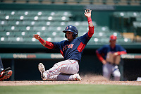 GCL Red Sox Oscar Rangel (39) slides home during a Gulf Coast League game against the GCL Orioles on July 29, 2019 at Ed Smith Stadium in Sarasota, Florida.  GCL Red Sox defeated the GCL Pirates 9-1.  (Mike Janes/Four Seam Images)