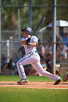 FIU Panthers designated hitter Adan Fernandez (18) hits a home run during a game against the South Dakota State Jackrabbits on February 23, 2019 at North Charlotte Regional Park in Port Charlotte, Florida.  South Dakota defeated FIU 4-3.  (Mike Janes/Four Seam Images)
