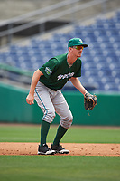 Daytona Tortugas second baseman Blake Butler (16) during a game against the Clearwater Threshers on April 20, 2016 at Bright House Field in Clearwater, Florida.  Clearwater defeated Daytona 4-2.  (Mike Janes/Four Seam Images)