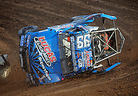 Dec. 11, 2011; Chandler, AZ, USA; LOORRS pro two unlimited driver Robby Woods crashes during the Lucas Oil Challenge Cup at Firebird International Raceway. Mandatory Credit: Mark J. Rebilas-