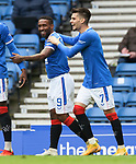 25.10.2020 Rangers v Livingston: Jermain Defoe celebrates his goal with Ianis Hagi