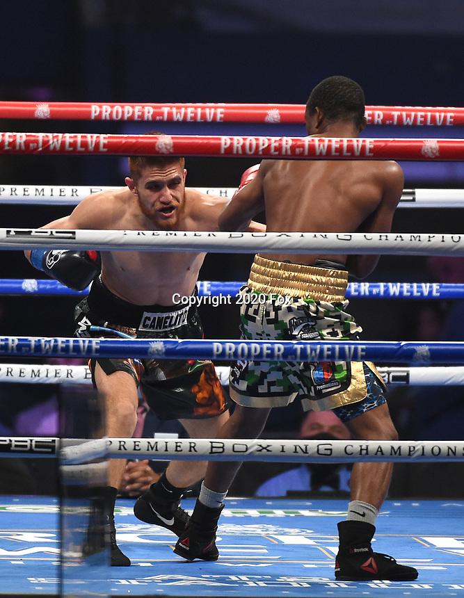 ARLINGTON, TX - DECEMBER 5: Isaac Avelar and Sakaria Lukas during their fight on Fox Sports PBC Pay-Per-View fight night at AT&T Stadium in Arlington, Texas on December 5, 2020. (Photo by Frank Micelotta/Fox Sports)