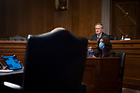 """Committee Chairman United States Senator Mike Crapo (Republican of Idaho) listens as Export-Import Bank of the US President and Chairwoman, Board of Directors Kimberly A. Reed testifies during a US Senate Committee on Banking, Housing, and Urban Affairs hearing entitled """"Oversight of the Export-Import Bank of the United States"""" in the Dirksen Senate Office Building on Capitol Hill in Washington, DC., Tuesday, June 23, 2020. Credit: Rod Lamkey / CNP<br /> Credit: Rod Lamkey / CNP/AdMedia"""