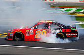 2017 NASCAR Xfinity Series<br /> My Bariatric Solutions 300<br /> Texas Motor Speedway, Fort Worth, TX USA<br /> Saturday 8 April 2017<br /> Erik Jones, Game Stop/ GAEMS Toyota Camry celebrates his win with a burnout<br /> World Copyright: Russell LaBounty/LAT Images<br /> ref: Digital Image 17TEX1rl_2617