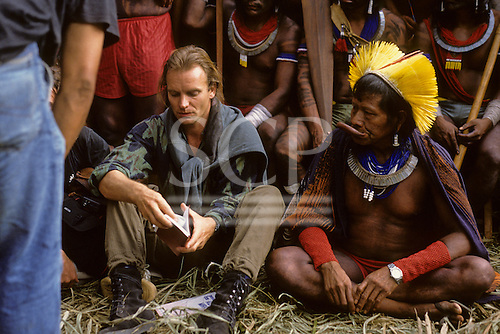 Altamira, Brazil. Sting with Chief Raoni at the Altamira conference against dams in Brazil; 1988.