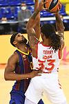 Turkish Airlines Euroleague 2020/2021. <br /> Regular Season-Round 10.<br /> FC Barcelona vs Crvena Zvezda MTS Belgrade: 76-65.<br /> Brandon Davies vs Emanuel Terry.