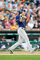 Matt Joyce (20) of the Tampa Bay Rays follows through on his swing against the Detroit Tigers at Comerica Park on June 4, 2013 in Detroit, Michigan.  The Tigers defeated the Rays 10-1.  Brian Westerholt/Four Seam Images
