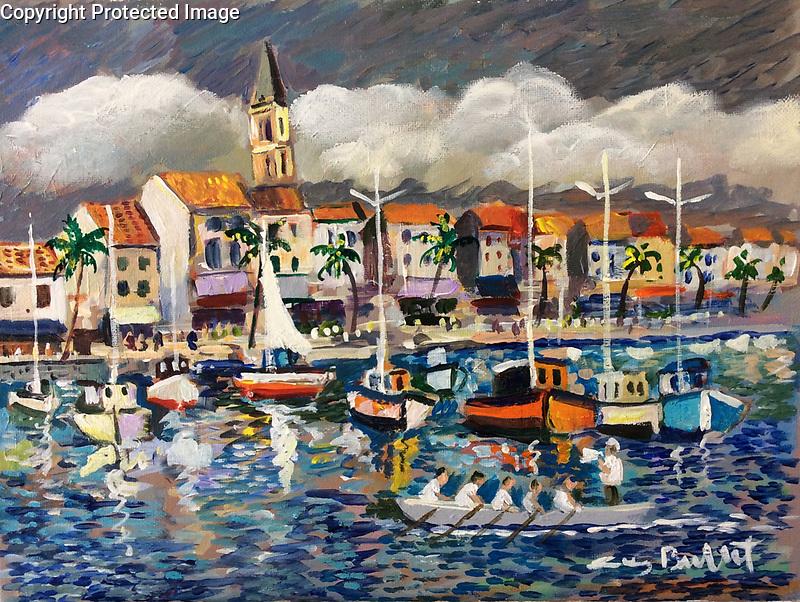 """Sanary Harbor""<br /> ORIGINAL<br /> 10.25x13.75 Acrylic on Canvas<br /> $5,900"