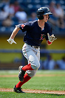 Lowell Spinners second baseman Grant Williams (11) runs to first base during a game against the Staten Island Yankees on August 22, 2018 at Richmond County Bank Ballpark in Staten Island, New York.  Staten Island defeated Lowell 10-4.  (Mike Janes/Four Seam Images)