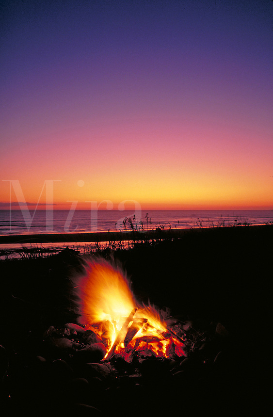 bonfire at sunset on Pacific Ocean coast beach in Olympic National Park. campfire, fire. Washington State USA Olympic National Park.