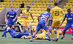 16.08.2020 Livingston v Rangers: Connor Goldson attempts a shot on goal