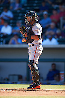 Scottsdale Scorpions Aramis Garcia (8), of the San Francisco Giants organization, during a game against the Mesa Solar Sox on October 18, 2016 at Sloan Park in Mesa, Arizona.  Mesa defeated Scottsdale 6-3.  (Mike Janes/Four Seam Images)