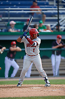 Auburn Doubledays Onix Vega (7) at bat during a NY-Penn League game against the Batavia Muckdogs on June 19, 2019 at Dwyer Stadium in Batavia, New York.  Batavia defeated Auburn 5-4 in eleven innings in the completion of a game originally started on June 15th that was postponed due to inclement weather.  (Mike Janes/Four Seam Images)