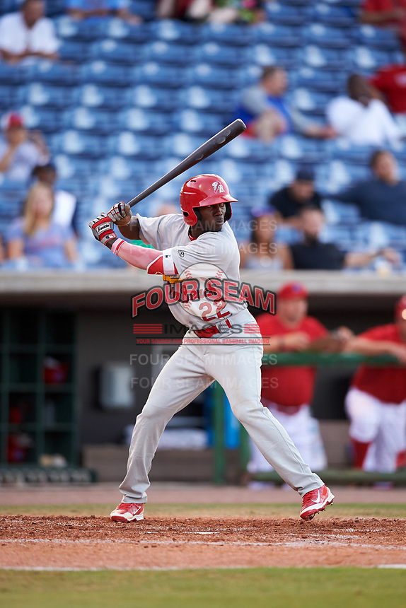 Palm Beach Cardinals center fielder Randy Arozarena (22) at bat during a game against the Clearwater Threshers on April 14, 2017 at Spectrum Field in Clearwater, Florida.  Clearwater defeated Palm Beach 6-2.  (Mike Janes/Four Seam Images)