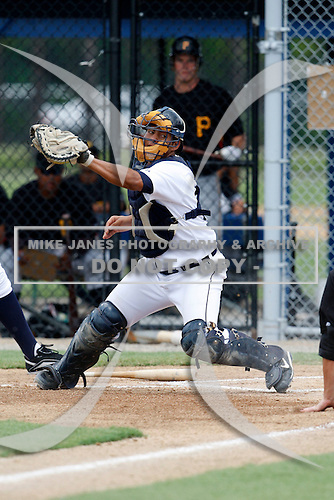 July 13, 2009:  Catcher Adolfo Reina of the GCL Tigers during a game at Tiger Town in Lakeland, FL.  The GCL Tigers are the Gulf Coast Rookie League affiliate of the Detroit Tigers.  Photo By Mike Janes/Four Seam Images