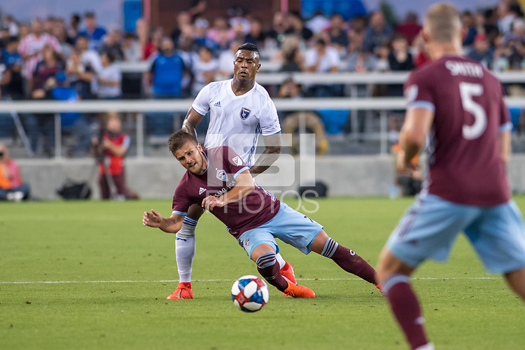 SAN JOSÉ CA - JULY 27: Diego Rubio #7 and Harold Cummings #31 during a Major League Soccer (MLS) match between the San Jose Earthquakes and the Colorado Rapids on July 27, 2019 at Avaya Stadium in San José, California.