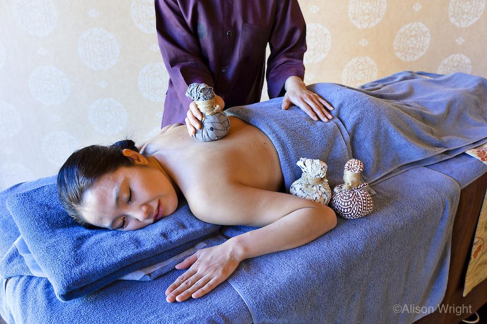 Hoshinoya Karuizawa luxury resort at the foot of Mt. Asam. Sake massage.