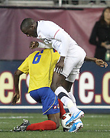 Jozy Altidore #17 of the USA MNT battles for the ball with Juan David Valencia #6 of Colombia during an international friendly match at PPL Park, on October 12 2010 in Chester, PA. The game ended in a 0-0 tie.