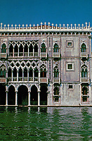 Ca d'Oro facade. Hotel in Venice, Italy. 1422-1440. Built for Contarini family, who provided Venice with eight Doges between 1043 and 1676. The architects of the Ca d'Oro were Giovanni Bon and his son Bartolomeo Bon. Now a gallery.