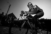Dwars door Vlaanderen 2012.Maxime Vantomme cornering on top of the Paterberg
