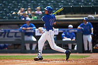 Chris Proctor (23) of the Duke Blue Devils follows through on his swing against the Florida State Seminoles in the first semifinal of the 2017 ACC Baseball Championship at Louisville Slugger Field on May 27, 2017 in Louisville, Kentucky. The Seminoles defeated the Blue Devils 5-1. (Brian Westerholt/Four Seam Images)
