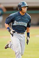 Jorge Agudelo #7 of the Pulaski Mariners hustles down the first base line against the Bristol White Sox at Boyce Cox Field August 28, 2010, in Bristol, Tennessee.  Photo by Brian Westerholt / Four Seam Images