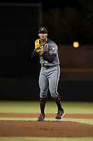Salt River Rafters starting pitcher Jon Duplantier (31), of the Arizona Diamondbacks organization, gets ready to deliver a pitch during an Arizona Fall League game against the Scottsdale Scorpions at Scottsdale Stadium on October 12, 2018 in Scottsdale, Arizona. Scottsdale defeated Salt River 6-2. (Zachary Lucy/Four Seam Images)