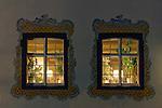 Germany, Baden-Wuerttemberg, Markgraefler Land, Inzlingen, castle, windows, illuminated restaurant