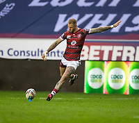29th April 2021; DW Stadium, Wigan, Lancashire, England; BetFred Super League Rugby, Wigan Warriors versus Hull FC;  Zak Hardaker of Wigan Warriors kicks the conversion to make the sore 6-0 to Wigan