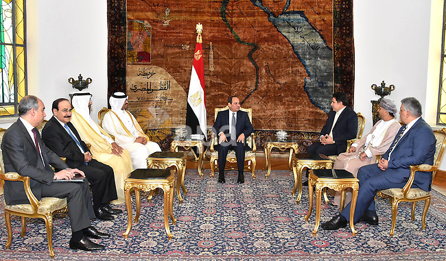 Egyptian President Abdel Fattah al-Sisi meets with Arab Ministers of water affairs at the Presidential palace in Cairo on May 27, 2015. The Arab Ministerial Water Council, in its seventh session Wednesday, discussed the issue of water security at its meeting headed by Bahraini Energy Minister, Abdulhussain bin Ali Mirza, at the Arab League in Cairo. Photo by Egyptian Presidency