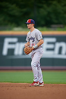 Reading Fightin Phils second baseman Luke Williams (11) during an Eastern League game against the Akron RubberDucks on June 4, 2019 at Canal Park in Akron, Ohio.  Akron defeated Reading 8-5.  (Mike Janes/Four Seam Images)
