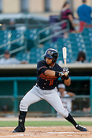 Juan Silva #1 of the Bakersfield Blaze bats against the Lancaster JetHawks at The Hanger on July 2, 2013 in Adelanto, California. Lancaster defeated Bakersfield, 12-1. (Larry Goren/Four Seam Images)