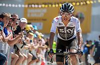 Egan Bernal Gomez (COL/Team Sky) on his way to the pre race sign on.<br /> <br /> Stage 2: Mouilleron-Saint-Germain > La Roche-sur-Yon (183km)<br /> <br /> Le Grand Départ 2018<br /> 105th Tour de France 2018<br /> ©kramon