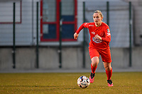Stefanie Deville (3) of Woluwe pictured during a female soccer game between FC Femina White Star Woluwe and Sporting Charleroi on the 2nd matchday of Play off 2 in  the 2020 - 2021 season of Belgian Scooore Womens Super League , friday 16 th of April 2021  in Woluwe , Belgium . PHOTO SPORTPIX.BE   SPP   STIJN AUDOOREN