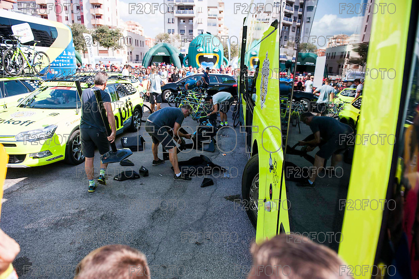 Castellon, SPAIN - SEPTEMBER 7: Tinkoff mechanics during LA Vuelta 2016 on September 7, 2016 in Castellon, Spain