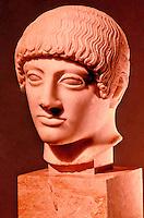 "Greek Art:  The so-called ""Blond Head"",  480 B.C.  Acropolis Museum."