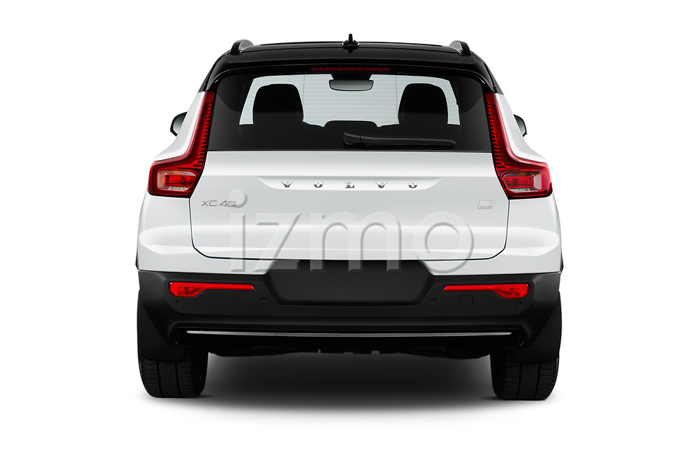 Straight rear view of 2021 Volvo XC40-Recharge - 5 Door SUV Rear View  stock images