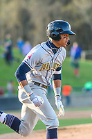 Burlington Bees outfielder Jordyn Adams (2) runs to first base during a Midwest League game against the Wisconsin Timber Rattlers on April 26, 2019 at Fox Cities Stadium in Appleton, Wisconsin. Wisconsin defeated Burlington 2-0. (Brad Krause/Four Seam Images)