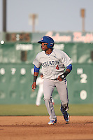 James Harris (4) of the Stockton Ports runs the bases during a game against the Lancaster JetHawks at The Hanger on May 26, 2016 in Lancaster, California. Stockton defeated Lancaster, 16-7. (Larry Goren/Four Seam Images)