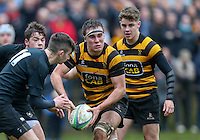 Saturday 18th February 2017 | CCB vs RBAI<br /> <br /> Charlie Cloke during the Ulster Schools' Cup Quarter Final clash between Campbell College Belfast and RBAI at Foxes Field, Campbell College, Belmont, Belfast, Northern Ireland.<br /> <br /> Photograph by John Dickson | www.dicksondigital.com