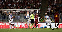 Calcio, Serie A: Roma, stadio Olimpico, 26 agosto, 2017.<br /> Inter's Mauro Icardi celebrates with his teammates after scoring during the Italian Serie A football match between Roma and Inter at Rome's Olympic stadium, August 26, 2017.<br /> UPDATE IMAGES PRESS/Isabella Bonotto