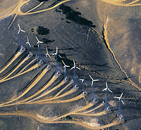 aerial photograph of wind farm, Tehachapi, Kern County, California